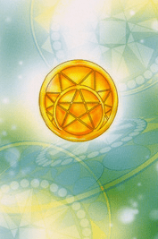 Tarotkaarten kleur Pentakels, Pentagrammen of Munten