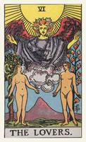 De aartsengel Rafaël op de tarotkaart De Geliefden