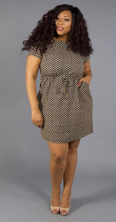 6d6bf7d5799 Plus Size Work Print Dresses Style-Set 100