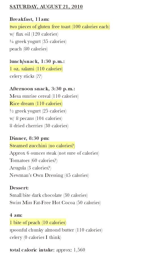Lena Dunhams food diary day 1 - the10principles