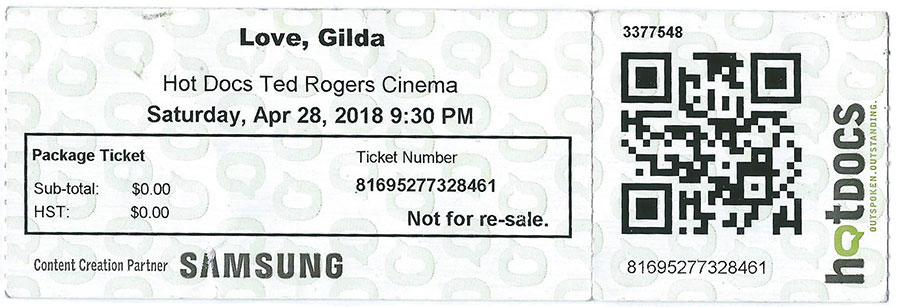 documentary love gilda - hot docs ticket stub