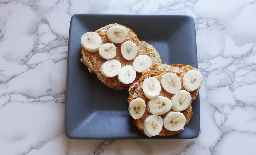 eating lunch - peanut, butter and banana