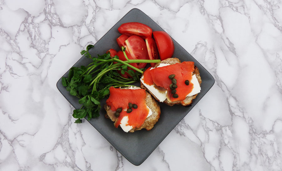 eating lunch - smoked salmon on full-fat cream cheese with capers