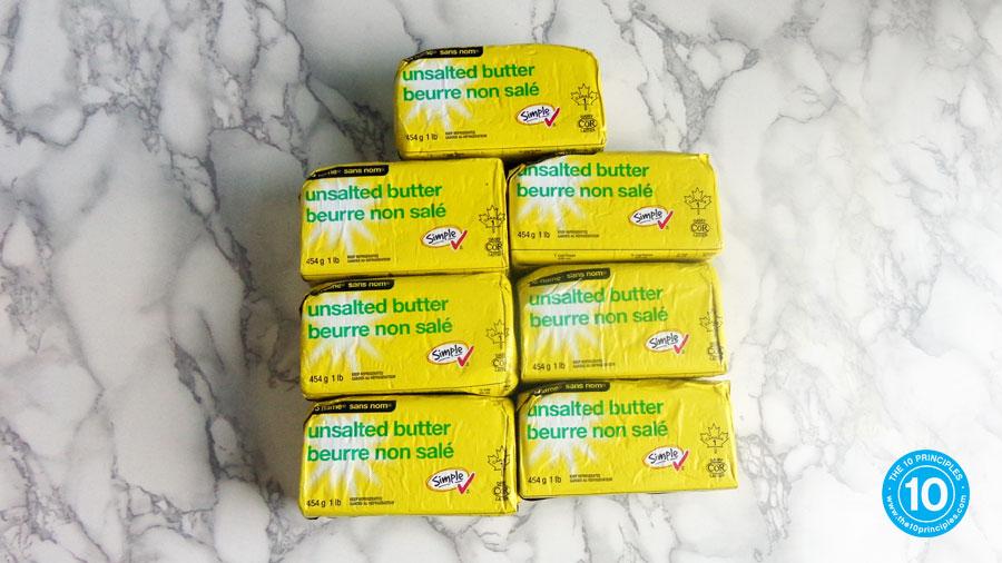 I felt like I melted because I was carrying the equivalent of these 7 one-pound blocks of butter around