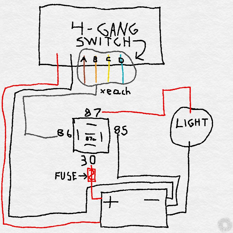 Relay with a 4-Gang Switch Box