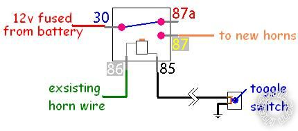 v relay wiring diagram horn wiring diagram wiring diagram for a horn relay  the 4 pin
