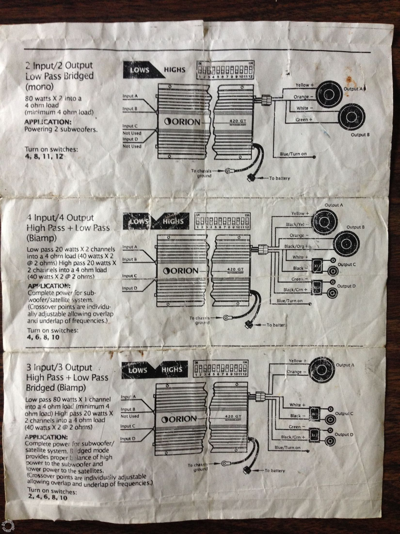 hight resolution of  orion 420 gt crossover settings on 2 channel amp diagram guitar string diagram 4 subwoofer wiring