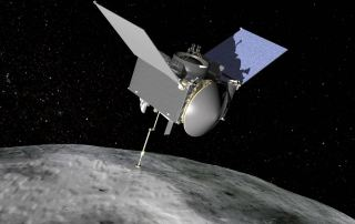 Artist's impression of the spacecraft orbiting an asteroid