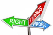 ethical dilemma choices, right, wrong, it depends
