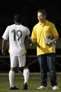 Milwaukee Panthers men's soccer forward Robbie Boyd and I following a match in 2013.