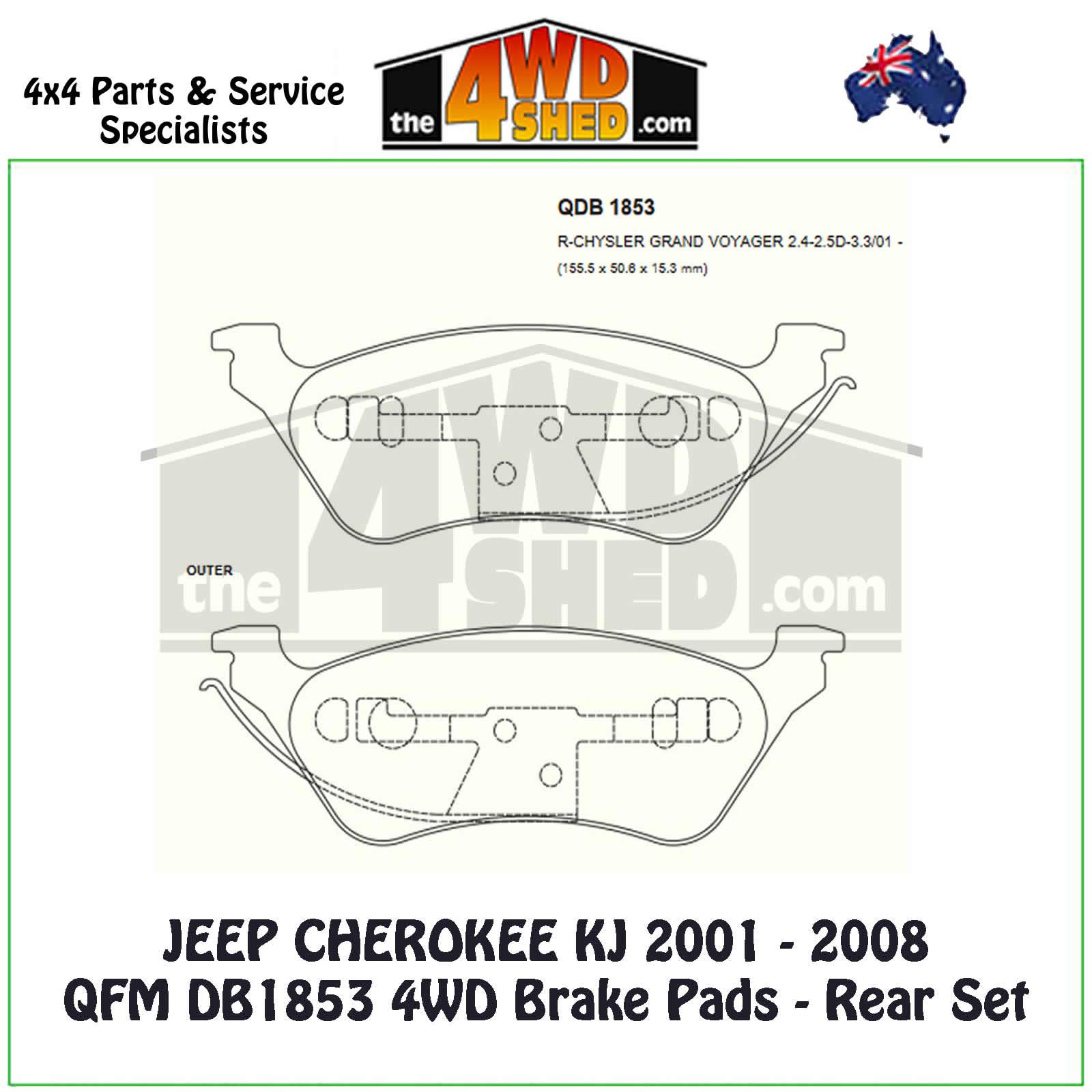 hight resolution of jeep cherokee kj 2001 2008 rear brake pads qfm db1853 4wd