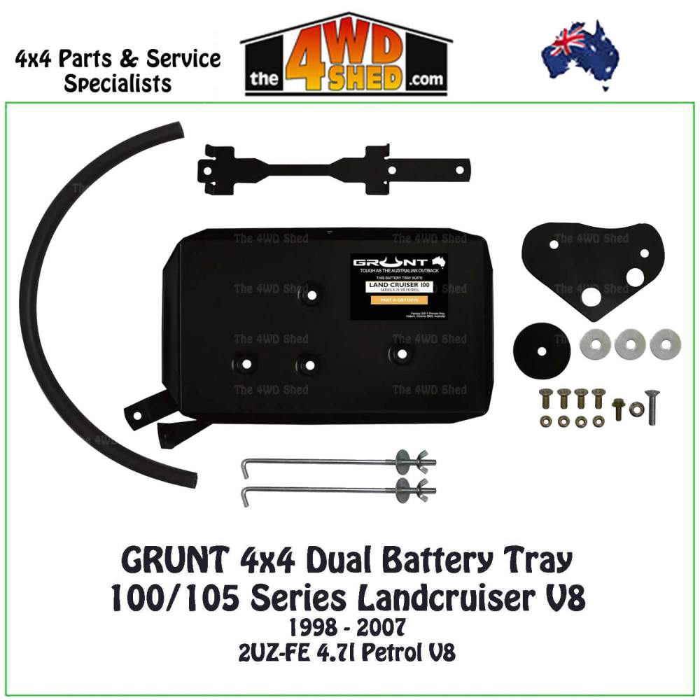 medium resolution of  100 105 series landcruiser v8 dual battery tray grunt 4x4 on led wiring battery rack alpha wiring diagram