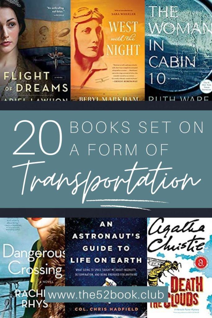 Twenty books set on a form of transportation