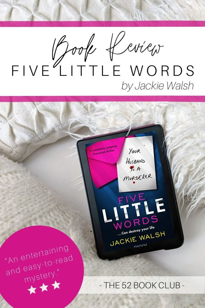 Five Little Words cover on an ereader set against white pillows.