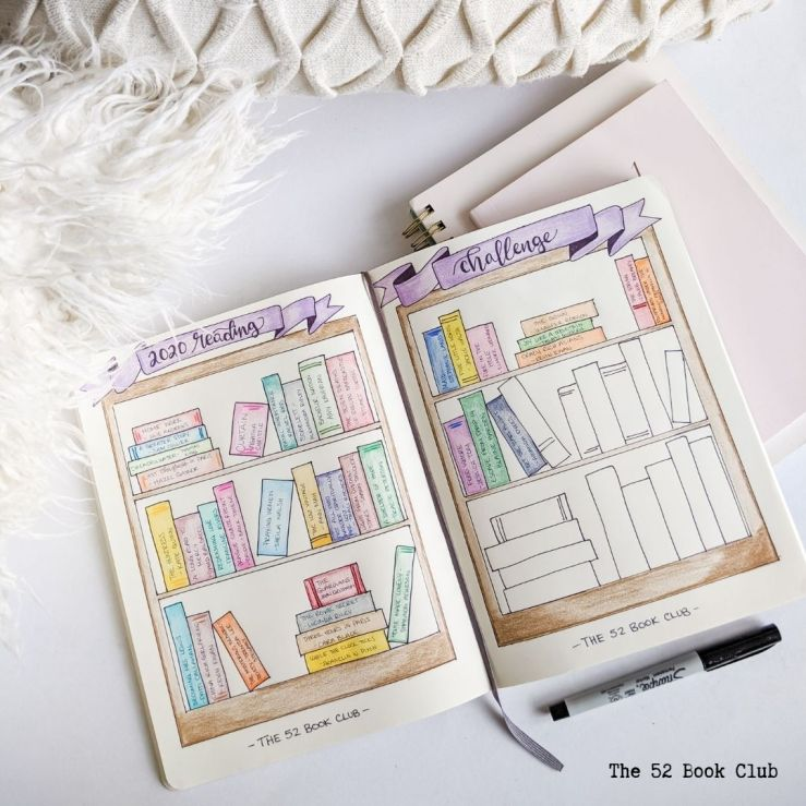 Open journal with a bookshelf reading tracker