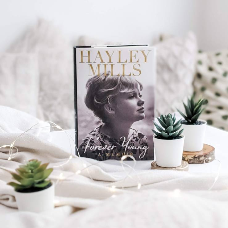 Forever Young by Hayley Mills book set against white background
