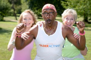 Mr Motivator with Mangala Harris (75) and Judy Hill (65) as they launch the Older Actives competition to find the most active person over 65 years old