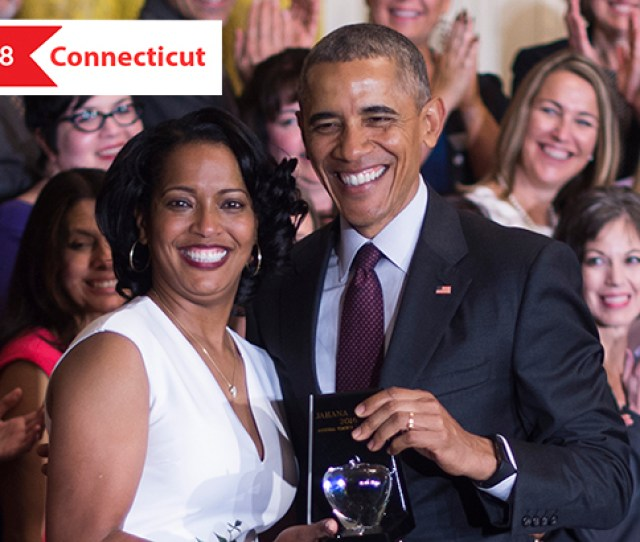 Jahana Hayes Left Celebrates Being Named The  National Teacher Of The Year With Then President Barack Obama During An Event At The White House In
