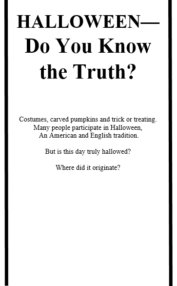 Halloween - Do You Know the Truth?