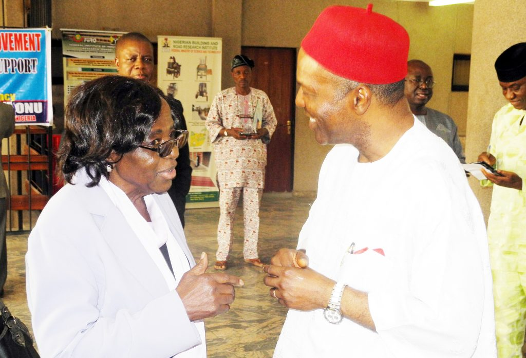 Prof Deborah Ajakaiye in a chat with Nigeria's Minister of Science and Technology, Ogbonnaya Onu