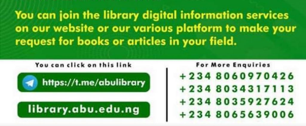 ABU Library Launches Telegram Group to Assist student