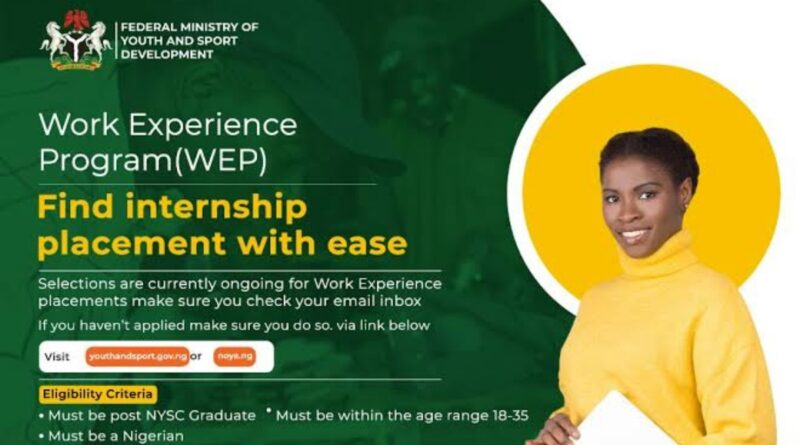 Call for Application: FG Work Experience Program (WEP) 2021 for Nigerian Youths 1
