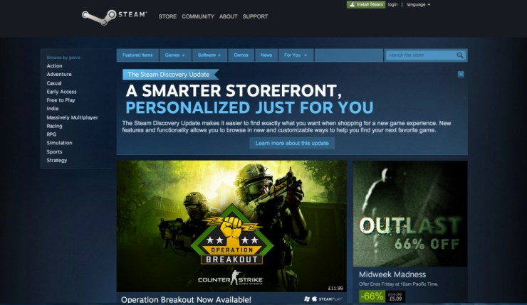 Steam Home page @ theactionpixel.com