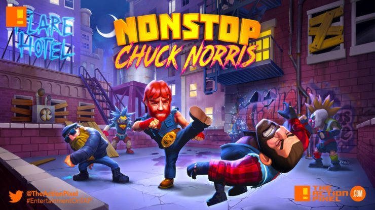 nonstop chuck norris, mobile, game, the action pixel, entertainment on tap
