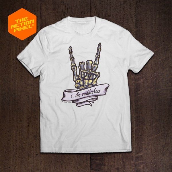 the rudderless, horned hand, devil, rock and roll, heavy metal, punk, punk rock, punk rock tshirt, banner, tattoo, skeleton, skull, horned hand, horny,