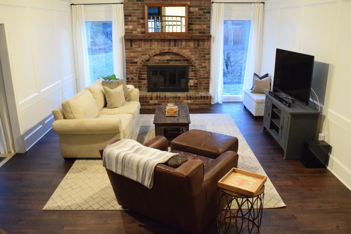 winning built ins for living room. Our living room is one of our favorite spaces in house  The cathedral ceilings and the floor to ceiling fireplace won us over first time we saw State Living Room Painted Paneling Built ins