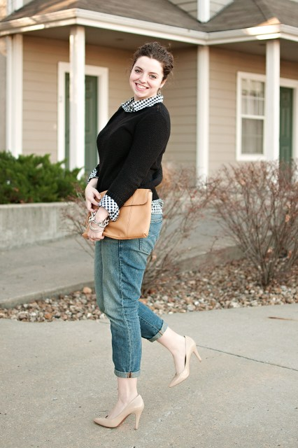Boyfriend Jeans and Preppy Sweater