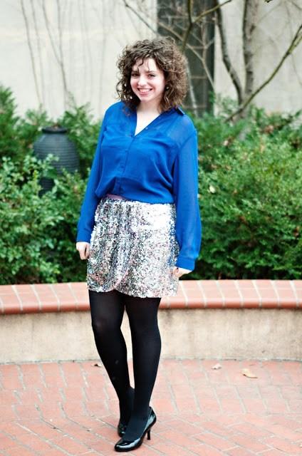 Cobalt top with J Crew Sequin skirt