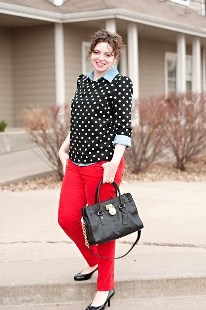 Red Corduroys with Polka Dots and Chambray