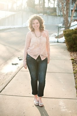 Pink lace cardigan outfit