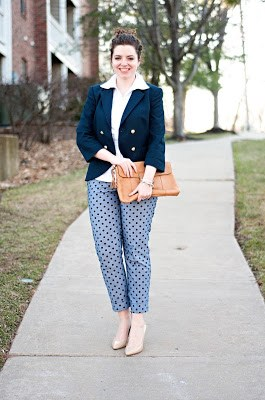 Blazer and polka dot pants