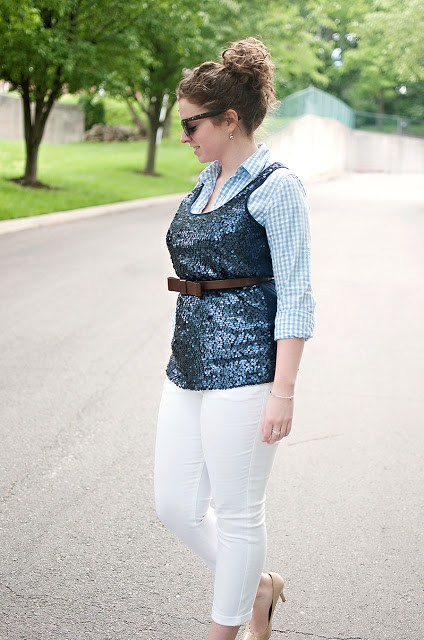 Blue Gingham with Sequin Tank