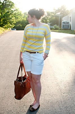 white shorts with striped sweater