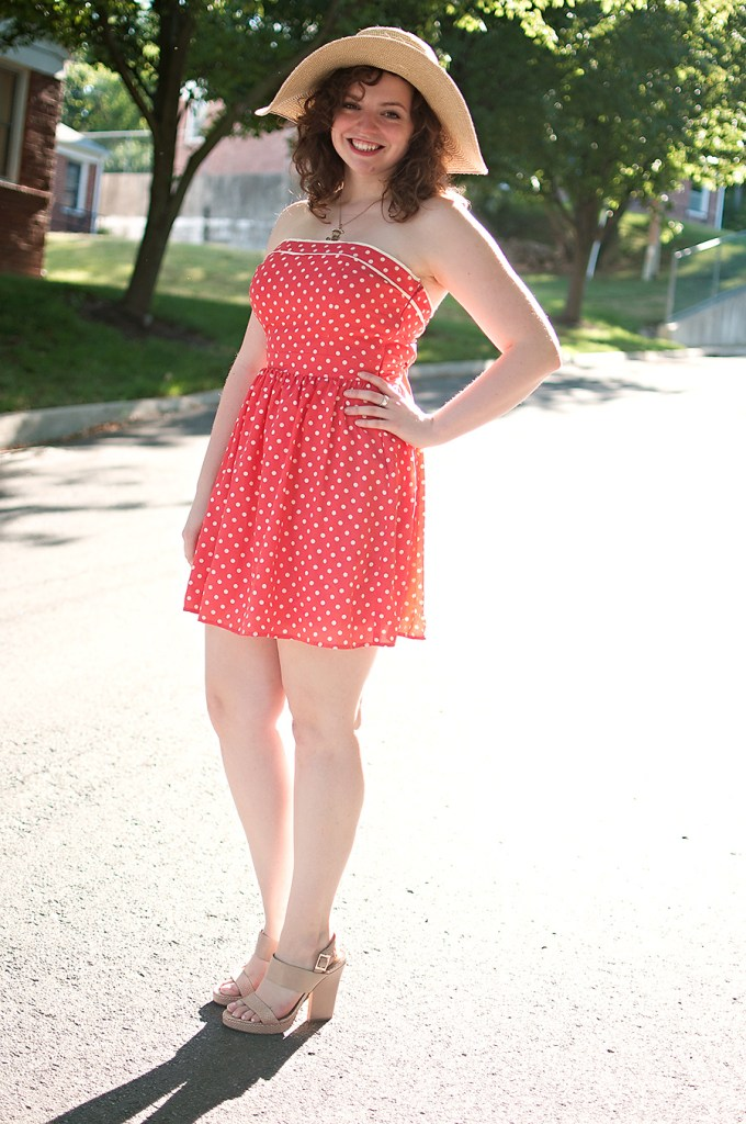Pink Polka Dot Dress with Straw Hat