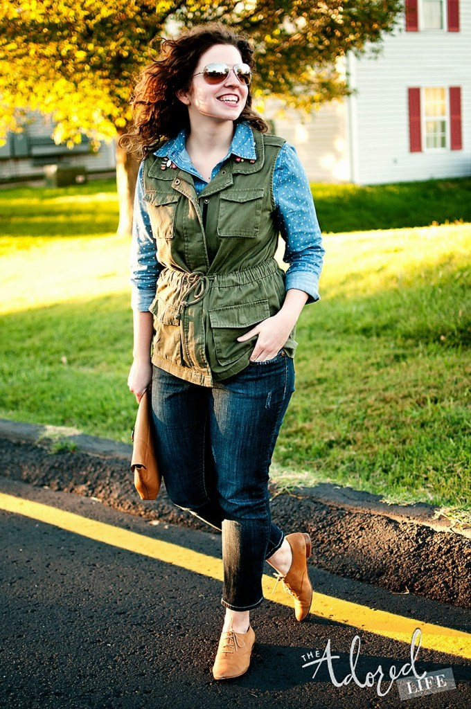 Fall polka dot outfit with denim