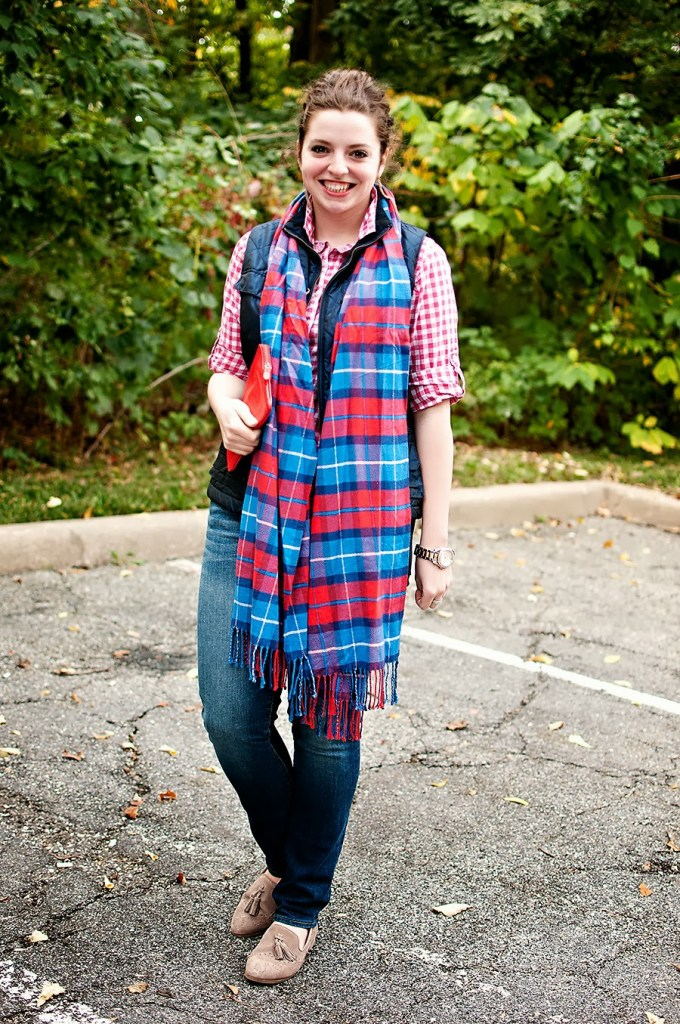 Gingham with Puffer Vest for Fall