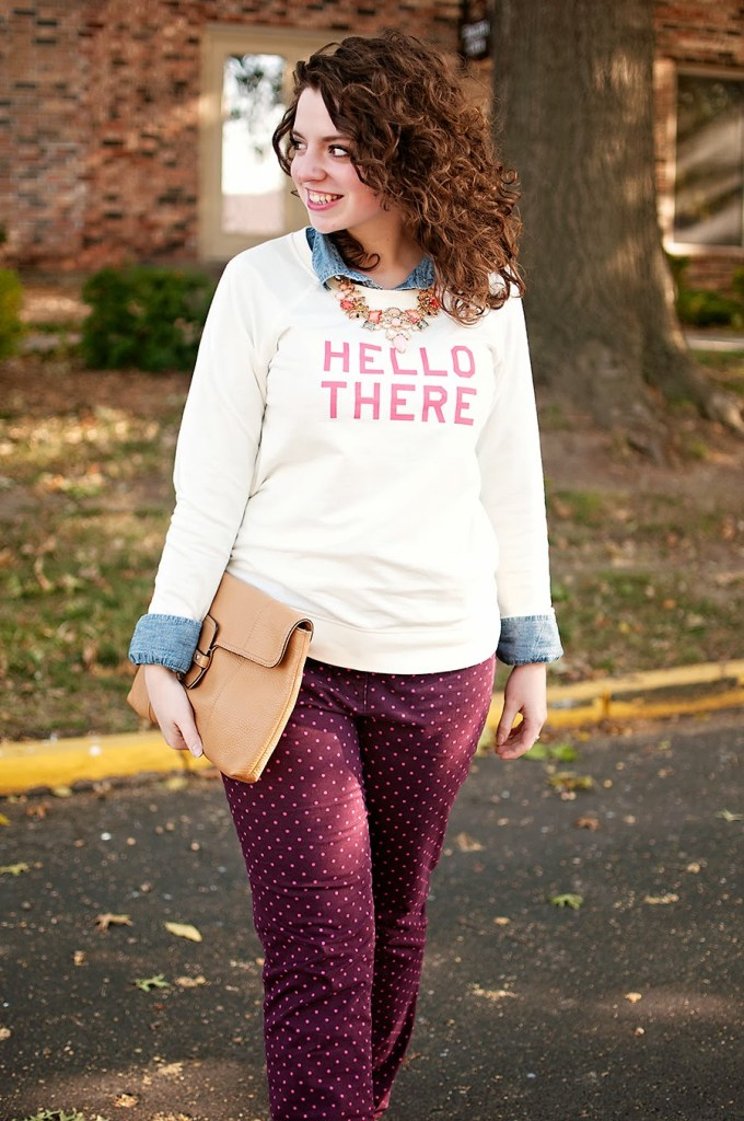 Old Navy Hello There Sweater with Polka Dot Pants