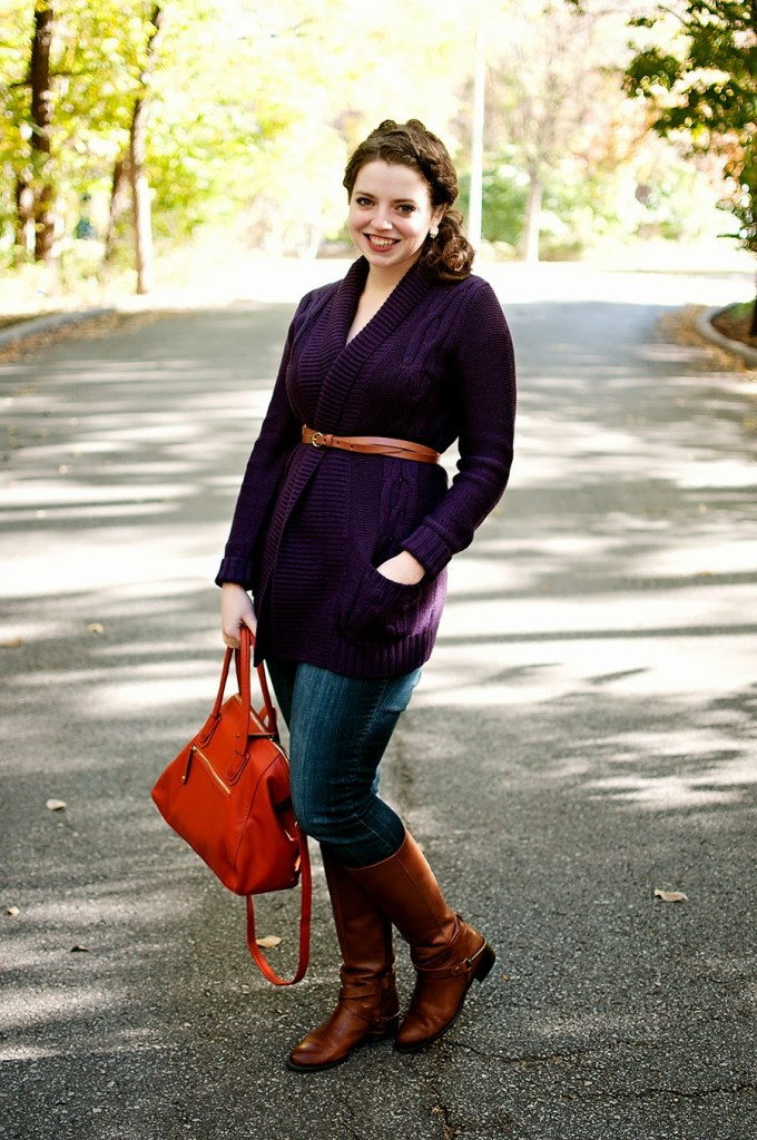 Purple Sweater with boots fall outfit