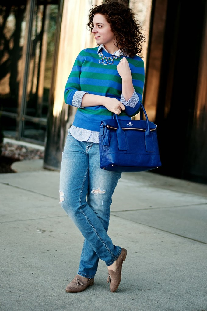 Blue stripes with statement necklace and Kate Spade necklace