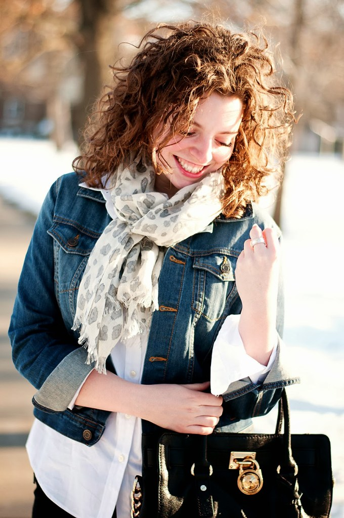 Winter Casual outfit with denim jacket and leopard scarf