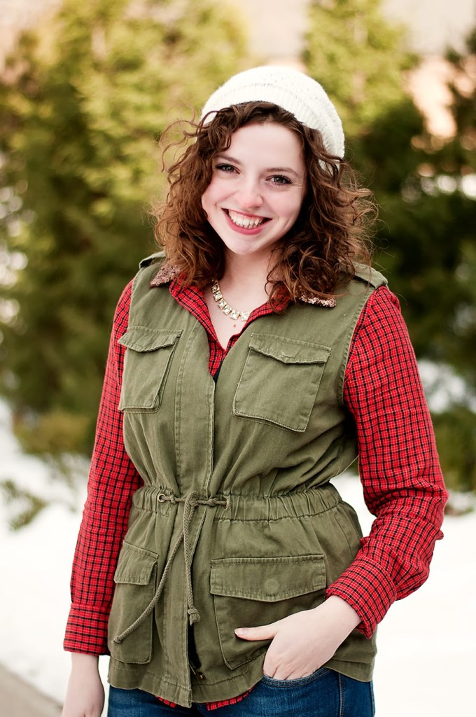 Cargo Vest with a sequin top and plaid