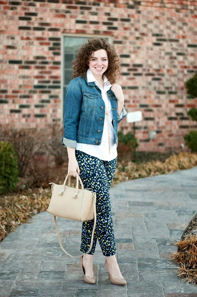 Denim jacket with animal print pants