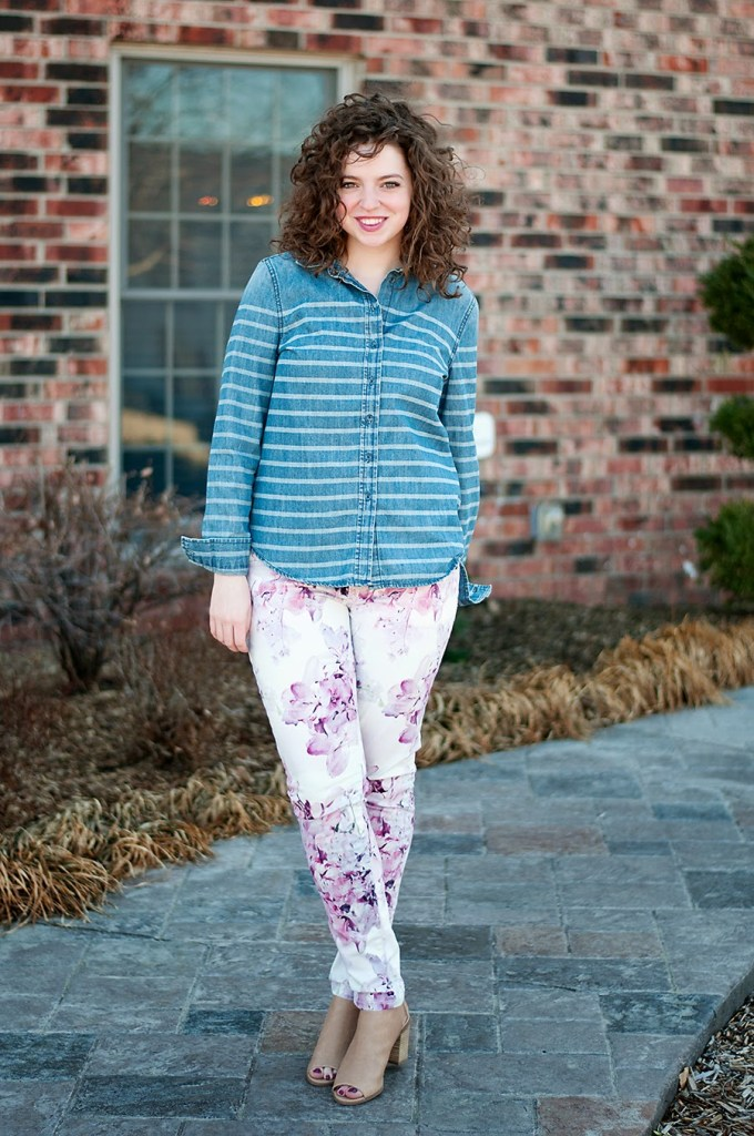 Floral pants and striped shirt with open toed shoes