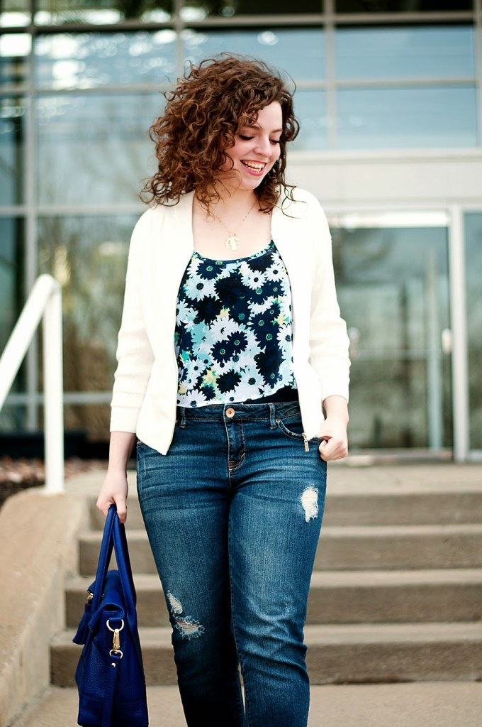 Spring florals with with white sequin jacket
