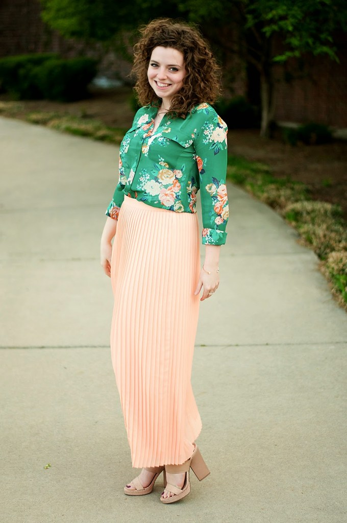 Floral shirt with pleated peach maxi skirt