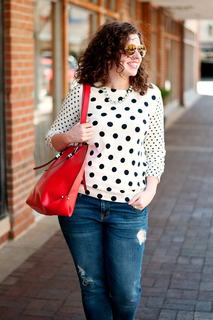 J. Crew double polka dot sweater